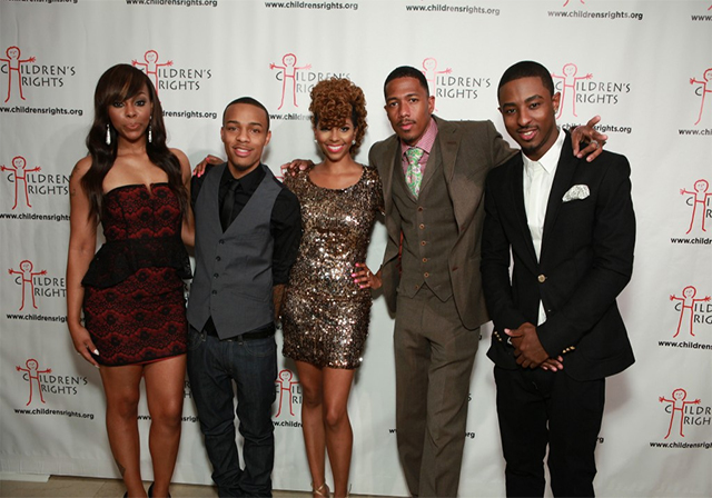 Pictured: Kimberly 'Paigion' Walker, Shad 'Bow Wow' Moss, Mykel 'Miss Mykie' Gray, Nick Cannon, Jordan 'Shorty da Prince' Johnson