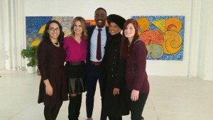 From left to right: Steffanie, Natalie Morales, Demetrius, Victoria Rowell, Kim.