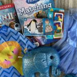 blue elephant, dress, coloring books, and nail polish