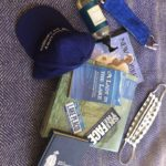 blue hat and items