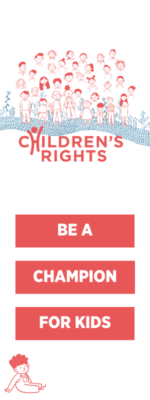 "Illustration of children smiling with the Children's Rights logo below it and the words, ""Be a champion for kids"""
