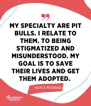 My specialty are Pit Bulls. I relate to them. To being stigmatized and misunderstood. My goal is to save their lives and get them adopted. 